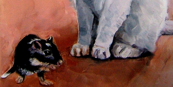 CHAT & GERBILLE . huile couteau
