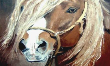 CHEVAL HARNACHE . huile couteau