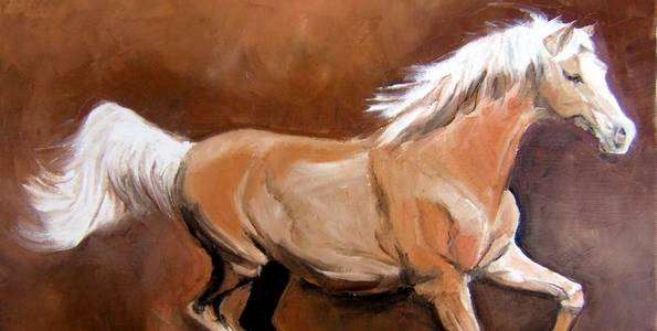 CHEVAL AU TROT . huile couteau